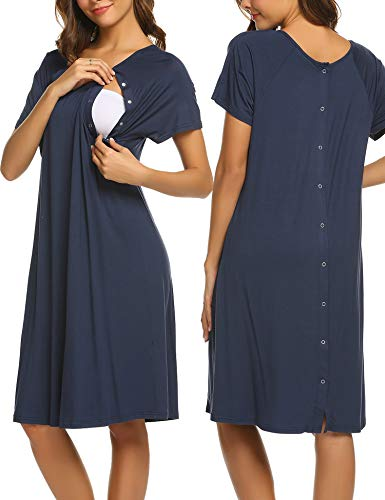 Ekouaer Maternity Nightgown Short Sleeve Sleepshirt Cotton Nursing Nightwear(Navy Blue,S)