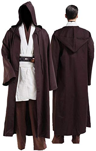 Rongxu Mens Jedi Robe Cosplay Costume Adult Tunic Hooded Robe Outfit Full Set Halloween Tunic Costume US Size (X-Large, White (Full Set))