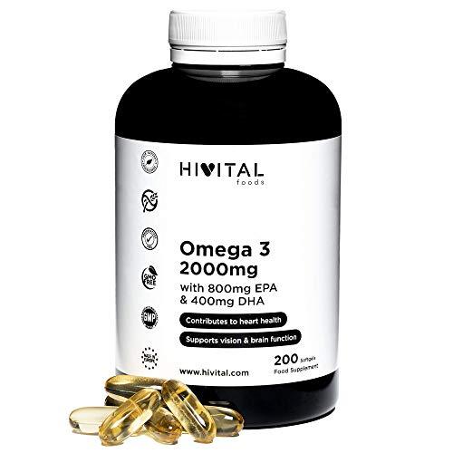 Omega 3 2000 mg | 200 cápsulas para más de 3 meses | Con 800 mg EPA, 400 mg DHA y Vitamina E Natural | El único con Aceite de Pescado Español que contribuye a la salud cardíaca, cerebral y ocu
