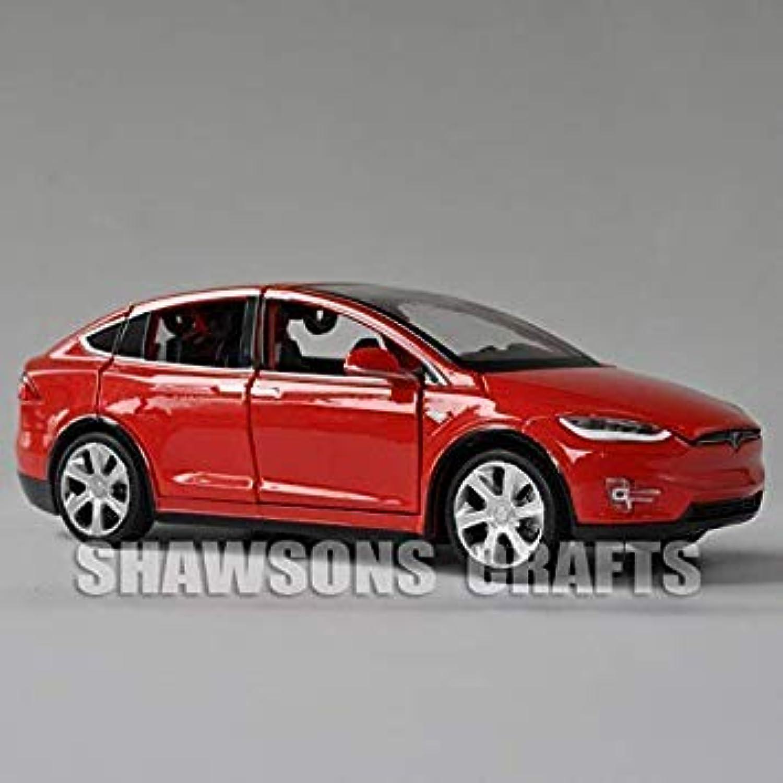 1 32 Diecast Car Model Toys Tesla Model X 90D Pulll Back Replica w Sound & Light Red