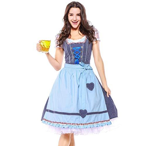 Kleid Dirndl Damen 3 TLG,Bluse, Schürze, Midi für Oktoberfest, mit Schürze und Bluse Spitze Bandage Oktoberfest KostüM Halloween Maid Kostüm TWBB