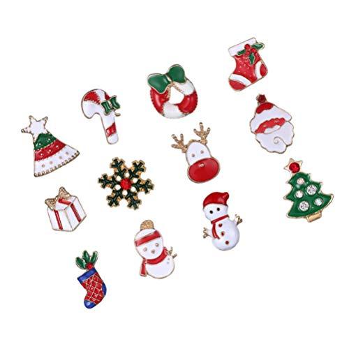 ABOOFAN 12pcs Christmas Enamel Brooches Mixed Santa Socks Tree Collar Badges Lapel Pin Men Suit Stud Shirt Alloy Brooch Costume Accessories Random