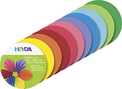 Heyda 204875610 Faltblätter rund, Uni Ø 10 cm, 10 Farben sortiert