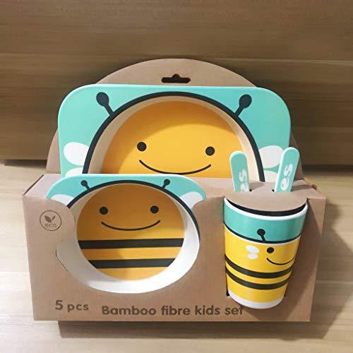 Couverts pour enfants en fibre de bambou Set de bande dessinée créative de grille plaque cuillère cuillère tasse Cinq pièces ensemble équilibre bébé régime de sécurité et de protection, Abeille