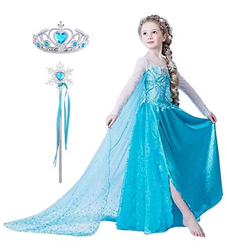 YONIER Vestito del Compleanno della Principessa Elsa di Frozen Costume da Carnevale per Bambina Cosplay Festa di Fantasia Vestito con Mantello Trasparente