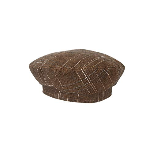 LRHD Sweet and Cute Ladies Beret Autumn Wild Thin Plaid Beret Retro Painter Hat Fashion Newsboy Hat Adjustable Size Hat Couple Hat Flat Top Hat (Black, Dark Green) (Color : Brown)