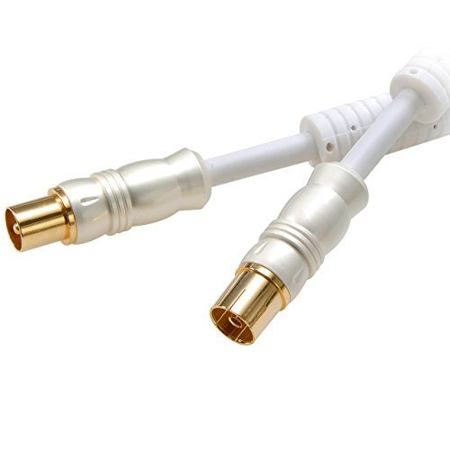 Vivanco HQ HDTV Antennenkabel, Koaxstecker  Koaxkupplung, 110dB, 24K vergoldete Kontakte, weiß, 5,0m