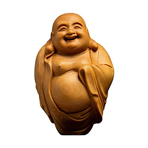 Qin Wooden Laughing Happy Buddha Statue Hand Carved Smiling Sitting Sculpture Handmade Figurine Decorative Home Decor Accent Rustic Handcrafted Art Decoration Happy Buddha
