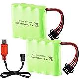 2PCS 14500 7.4V 1000mAh Lithium Batería with USB Charger for E35 DE38 DE40 DE50 Double-Sided Tumbling Stunt RC Car Remote Control Car Child Toy Car Spare Battery