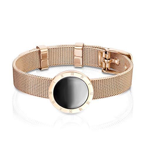Bungsa Pulsera de acero inoxidable de color oro rosa con diseño de cinturón, malla estrecha para hombre y mujer (pulsera de mujer y hombre, pulsera de acero quirúrgico)
