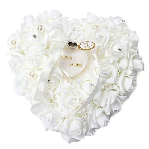 Yalulu Weiß Romantic Rose Hochzeit Ringkissen Ring Box Herz Bevorzugungen Ehering Kissen mit Eleganter Satin Flora mit Bogen Satin Bogen