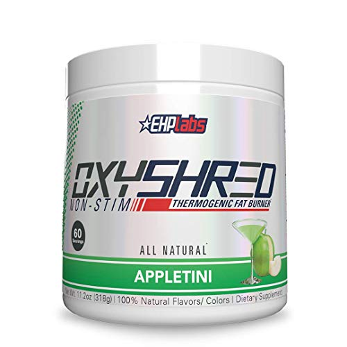 OxyShred Non-Stimulant Thermogenic Fat Burner by EHPlabs - Weight Loss Supplement, Energy Booster, Pre-Workout, Metabolism Booster (Appletini)
