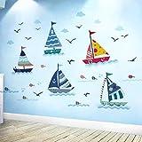 WandSticker4U- Wandsticker SEGELBOOTE   Wandbild: 175X70cm   Wandtattoo Ozean Meer See Boot Schiffe Fische Möwen Maritim Fliesenaufkleber Wandaufkleber   Deko Kinderzimmer Kinder Badezimmer...