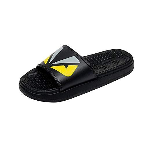 TDYSDYN Zapatillas de baño Unisex,Baño Pantuflas de Fondo Plano, Sandalias y Pantuflas Grandes de plástico-Negro_37