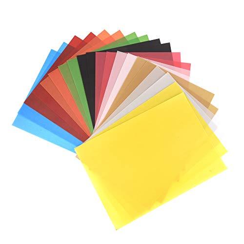 ewtshop - 20 fogli di carta trasparente colorata, 10, DIN A4, 100 g/mq, pergamena, per bricolage, imballaggio, scrapbooking