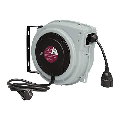 MAXTOOLS ER400 - Enrollacables profesional con cable eléctrico tripolar resistente al aceite H07RN-F, 1.5mm2 de sección, 20metros
