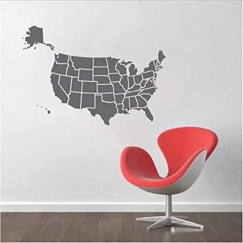 Kaart van de VS Muurstickers Vriendelijk Vinyl Muurstickers Decor Woonkamer Behang Beschikbaar muurschildering 56X76Cm