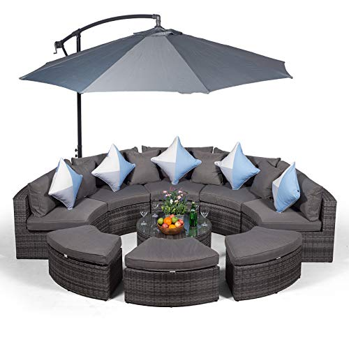 Monaco Large Grey Rattan Garden Sofa Set | 10 Piece Semi Circle Outdoor Poly Rattan Sofa Set | Fully Assembled Patio & Conservatory Wicker Garden Furniture with Parasol & Outdoor Cover