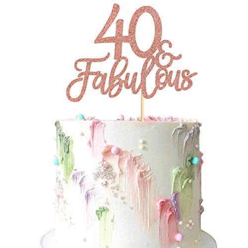 Ercadio 3 Pack Rose Gold Glitter 40 & Fabulous Cake Toppers Number 40 Forty Cake Picks Decorations for 4Oth Birthday Wedding Anniverysary Party Supplies