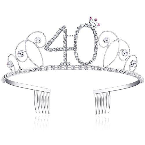 BABEYOND® Kristall Geburtstag Tiara Birthday Crown Prinzessin Kronen Haar-Zusätze Silber Diamante Glücklicher 18/20/21/30/40/50/60 Geburtstag (40 Jahre alt)