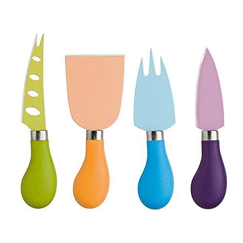 4 pièces Set Couteau à fromage inox avec manche en plastique hartkäsem Ventoux Couteau à fromage à pâte molle, fourchette à fromage, spatule à fromage en 4 couleurs Cuisine Outils