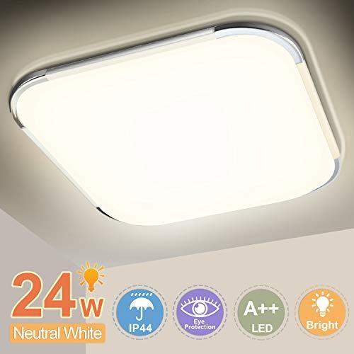 Hengda LED Deckenleuchte Badlampe, 24W 2040LM, Neutralweiß 4000K, LED Deckenlampe, Bürodeckenleuchte, für Schlafzimmer Wohnzimmer Küche Balkon, IP44 Spritzwasserschutz, Badleuchte, Wandlampe