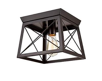 Danxu Lighting Retro Industrial Rectangle Flush Mount Ceiling Light Fixture Oil Rubbed Bronze