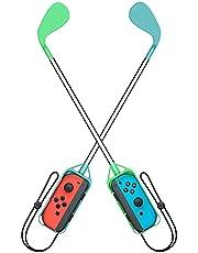 Switch/Switch OLED ゴルフクラブ 任天堂 Joy-Con用 グリップ ゴルフロッド (Mario Golf Super Rush)対応 二個セット 落下防止 ストラップ付き 軽量 装着簡単 長さ約41cm (グリーン・ライトブルー)