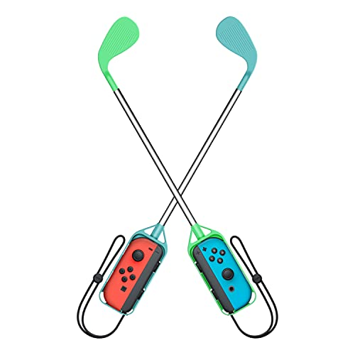 Switch ゴルフクラブ 任天堂 Joy-Con用 グリップ ゴルフロッド (Mario Golf Super Rush)対応 二個セット 落下防止 ストラップ付き 軽量 装着簡単 長さ約41cm (グリーン・ライトブルー)