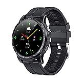 Reloj inteligente PW20 con Bluetooth, para hombre, presión arterial, frecuencia cardíaca, 24 horas, varios deportes, para Android iOS (color: negro)