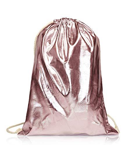 Beutel Aufdruck Tasche Rucksack Jutebeutel Muster Hipster Turnbeutel Gym Stringbags Bag, Unisex (Rosegold/Metallic)