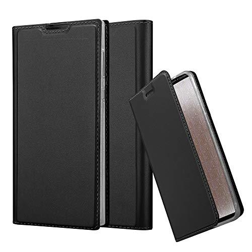 Cadorabo Hülle für Sony Xperia L1 in Classy SCHWARZ - Handyhülle mit Magnetverschluss, Standfunktion & Kartenfach - Hülle Cover Schutzhülle Etui Tasche Book Klapp Style