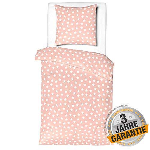Aminata Kids Kinderbettwäsche 100 x 135 Sterne Bettwäsche Kinder für Mädchen Kleinkind-Wende-Bettwäsche Set zart rosa Rose weiß - Star Stern-Motiv