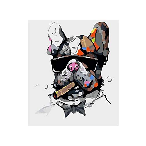 Fume Chien Animal de Bande Dessinée DIY Numérique Peinture Par Numéros Moderne Mur Art Toile Peinture Unique Cadeau Décor À La Maison 40x50 cm-50x65 cm Sans Cadre