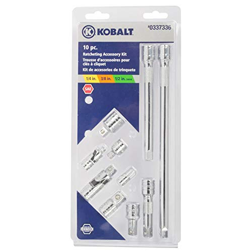 Kobalt 337336 10-Piece 1/4, 3/8, and 1/2-Inch Drive Tool Accessory Set, includes Extension Bars, Universal Joints, and Drive Adapters