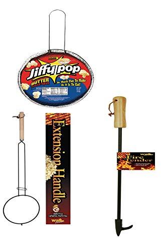Rhinestones Campfire Firepit Fun Bundle Popcorn Extension Fire Tender 36' Jiffy Pop Gift Set