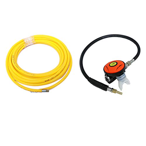 HPDAVV 50ft PVC Air Hose and 145PSI Scuba Diving Regulator,Octopus Hookah with Mouthpiece,Free Flow Resistant,Clamp Joint,M10×1