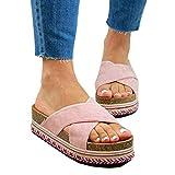 BTKD Sandalias de Verano para Mujer Suela Plana Plataformas Sandalias y Palas Casual Confort Zapatillas de Playa Cómodas Sandalias de Tacón de Cuña Zapatos Casuales para Caminar,Rosado,39