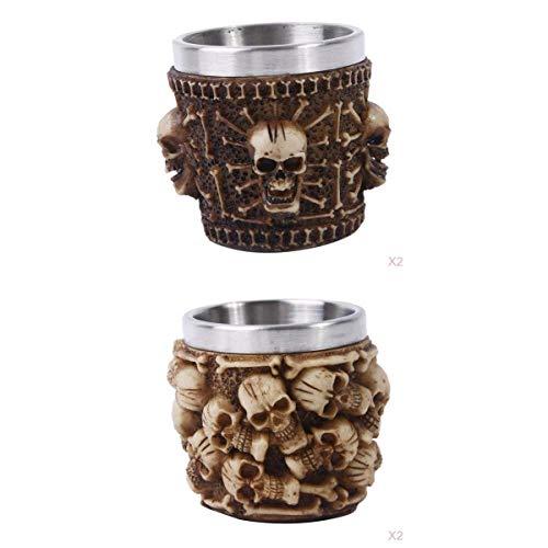 LOVIVER 4Pcss Viking 3D Cráneo Tazas De Cerveza Taza De Esqueleto Taza De Barra De Acero Inoxidable