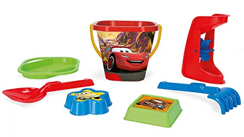 Wader 77642 Eimerset Eimergarnitur Disney Pixar Cars mit Eimer, Sieb, Sandmühle, Schaufel, Rechen und 2 Sandformen, 7 teilig, bunt