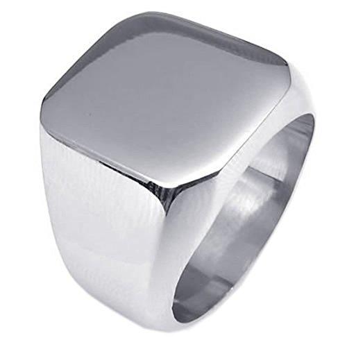 Anillo de sello - SODIAL(R) anillo de joyeria de hombres, de acero inoxidable, anillo de sellado, plata (9)