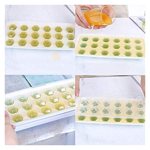 LEYIS 18 Grid Silicone Ice Bandeja con Tapa DIY Cubo de Hielo Molde Diamond Accessories Forma Bar (Color : D)