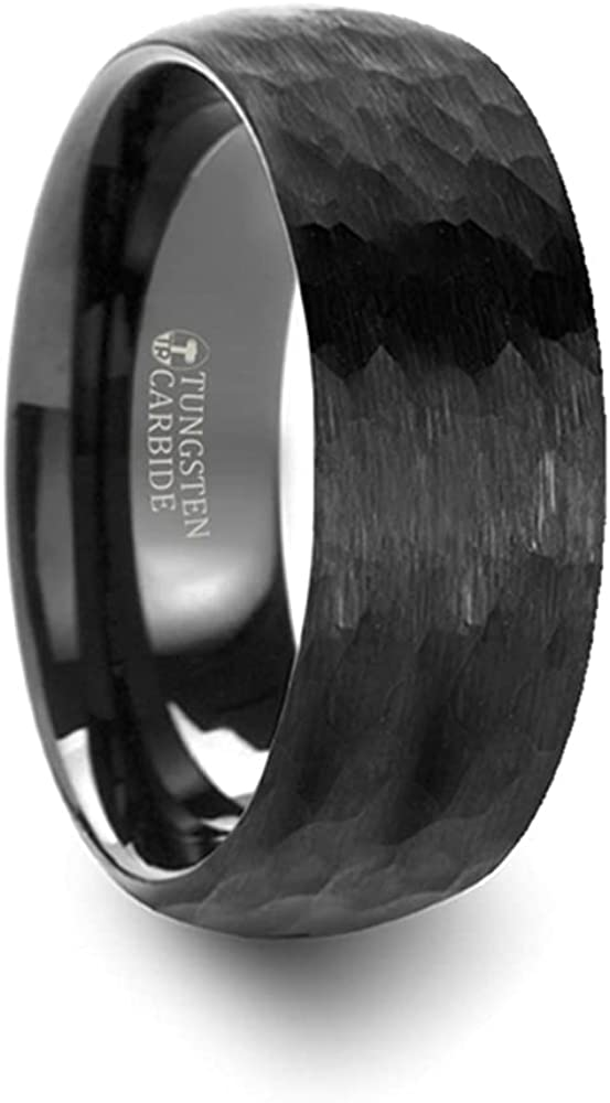 Mens Comfort Fit -Domed Hammer Finish Black Tungsten Carbide Wedding Band Brushed Finish - 6mm 8mm Wide - Style Name: Renegade