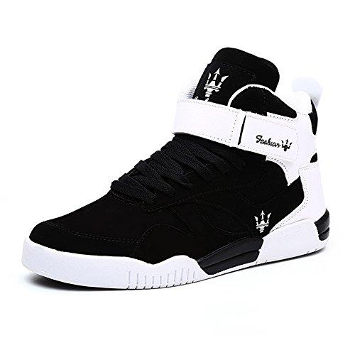 MUOU Zapatos Hombre Sneaker Deportivos Hombres Zapatos Casuales con Cordones Zapatillas Deporte Hombres de Moda (45 EU, Negro)