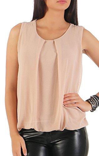 Malito Damen Bluse ärmellos   Tunika mit Rundhals   leichtes Blusenshirt   Elegant - Shirt 6879 (beige)