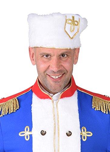 Panelize Weiße Fellmütze aus Plüsch Kosake Russe Väterchen Frost Gardemajor Gardeoffizier