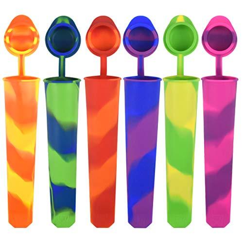 NATUCE 6PCS Bunt Eisformen Silikon, Eisformen EIS Am Stiel Silikon, Wiederverwendbar Eisformen Popsicle Formen Set, Eisform Silikon, Sichern Auslaufsichere Kappen, Spülmaschinenfest - BPA Frei