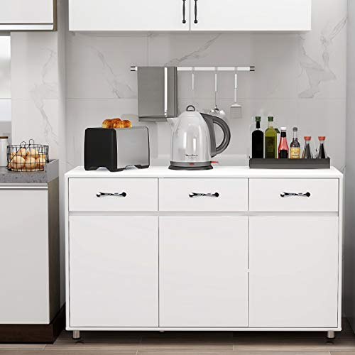 RASOO Buffet Cabinet Kitchen Cabinet Storage Sideboard Cabinet Cupboard Sideboard Buffet Kitchen Room (White -3 Doors and 3 Drawers)
