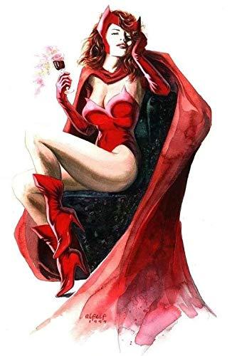 TOPHHH 75X50Cm Puzzle 1000 Piezas Adultos Y Niños Wooden Rompecabezas Juegos Familiares Educativos Anime Movie HD Poster Scarlet Witch Wanda