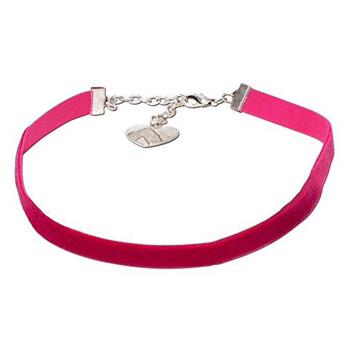 Alpenflüstern Trachten-Samt-Kropfband elastisch - Trachtenkette enganliegend, Velvet Kropfkette, Damen-Trachtenschmuck, Samtkropfband schmal pink-fuchsia DHK076